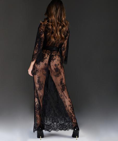 Long Kimono Allover Lace, Noir