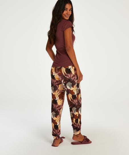 Haut de pyjama manches courtes Henley, Rose