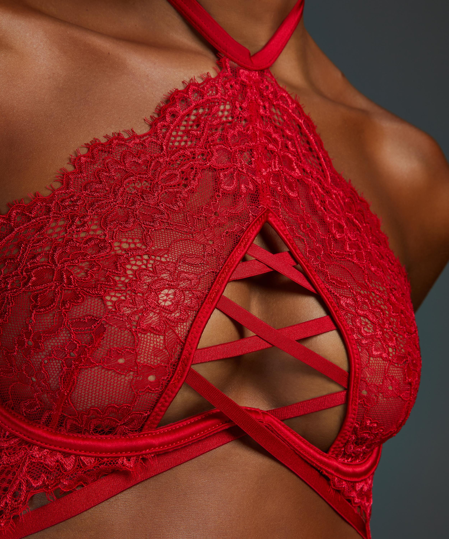 Soutien-gorge à armatures non-préformé col licou Eve, Rouge, main