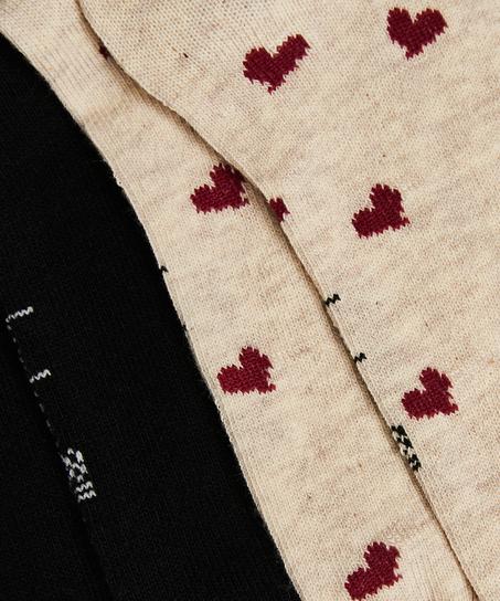 2 Paires de Chaussettes en Coton, Beige