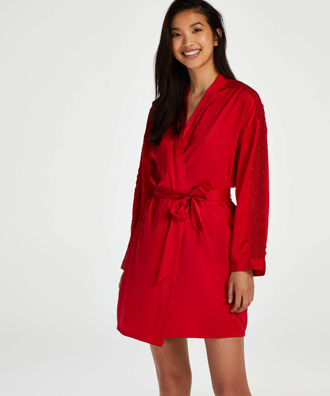 Kimono en satin, Rouge, main