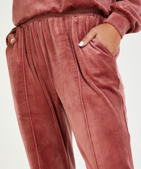 Petite Pantalon Jogging Velours Pintuck, Rose
