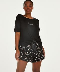 Pyjama court Ditzy Flower, Noir
