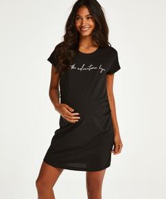 T-shirt de nuit grossesse à manches courtes, Noir