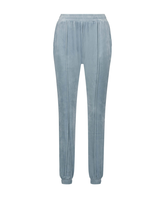 Pantalon Jogging Velours Pintuck, Bleu, main