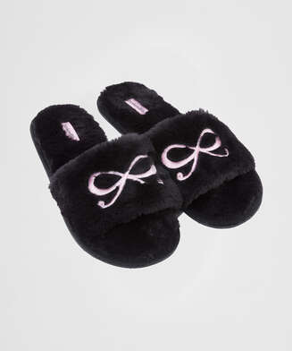 Sandales Bow fake fur, Noir