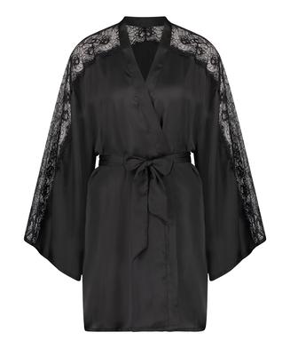 Kimono en dentelle satinée, Noir