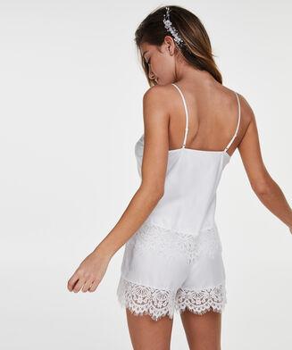 Short de pyjama satin lace Bridal, Blanc