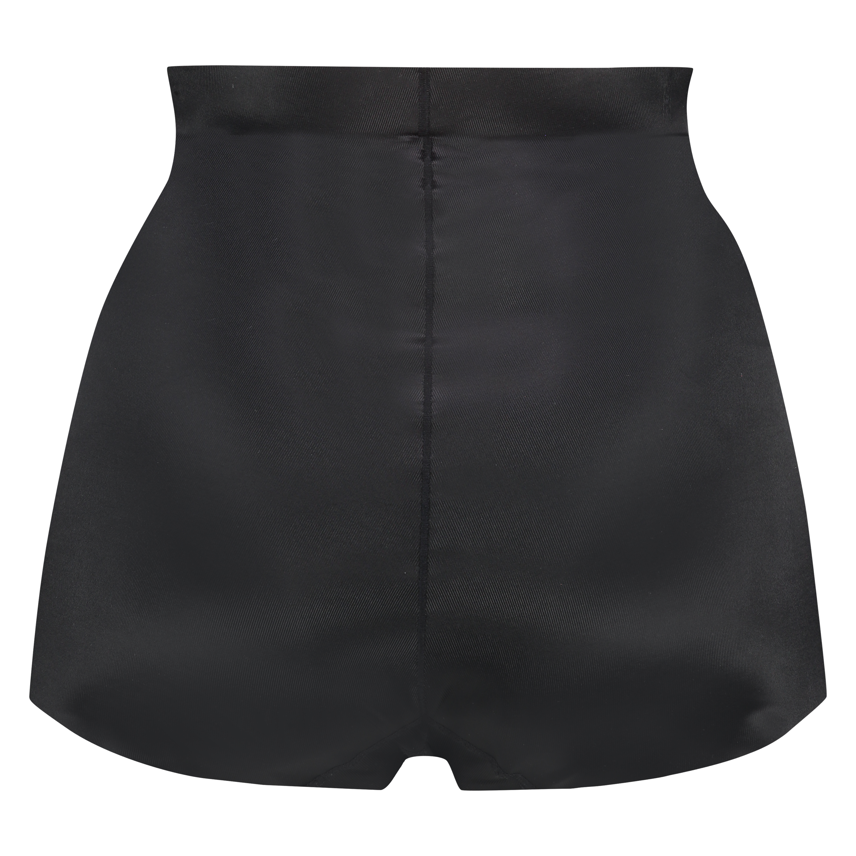 Culotte taille haute avec gaine sculptante en dentelle scuba - Level 3, Noir, main