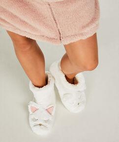 Pantoufles Fox, Blanc