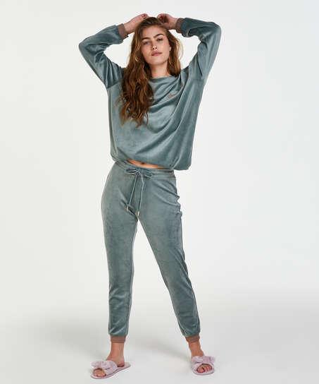 Pantalon de jogging en velours lurex, Vert