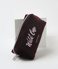 Trousse de maquillage en velours Wild One, Rouge