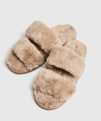 Pantoufles Fake Fur, marron