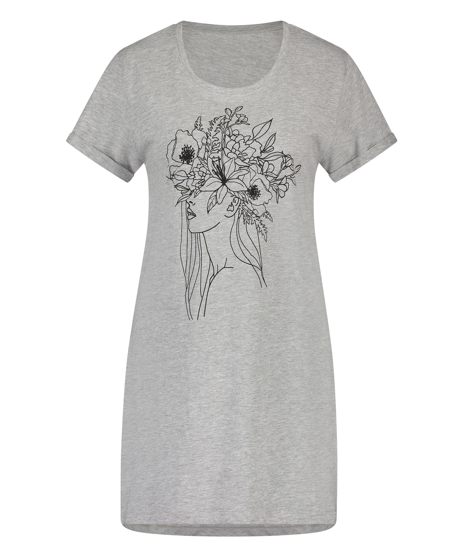 Chemise de nuit à encolure arrondie, Gris, main
