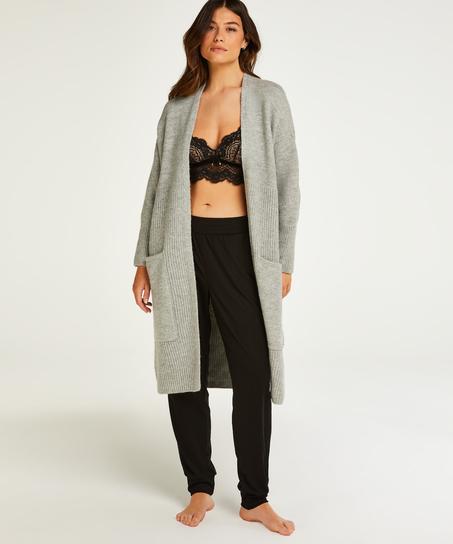 Premium Cardigan long Fluffy, Gris