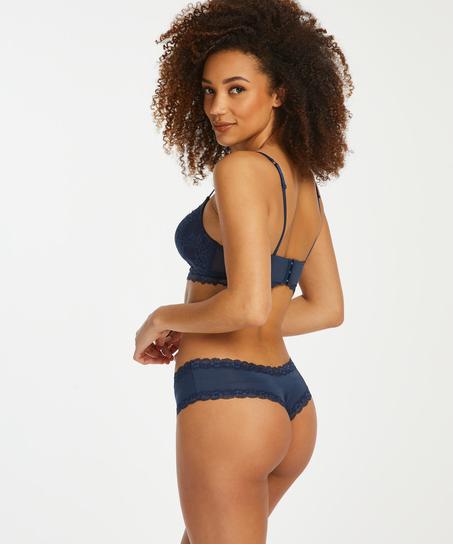 Slip brésilien V-shape mesh, Bleu