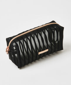 Trousse de maquillage Stripe Mesh, Noir
