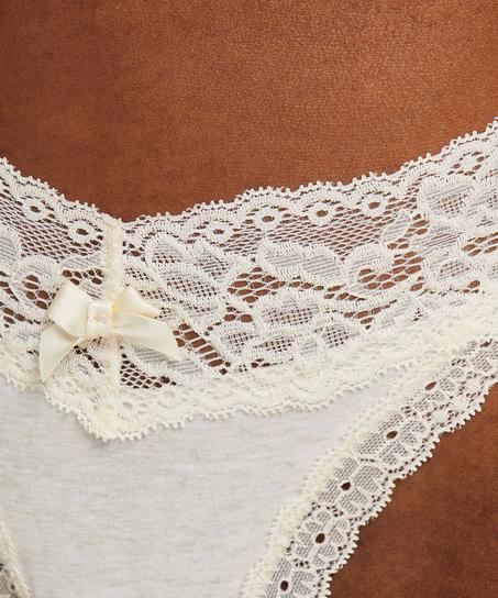 String taille extra basse en coton, Beige