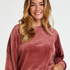 Top Velours manches longues, Rose