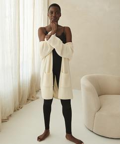 Premium Cardigan long Fluffy, Blanc