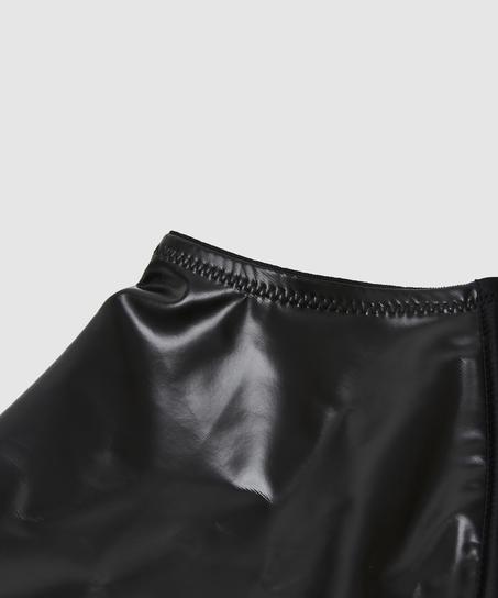 Porte-jarretelles Private aspect cuir, Noir