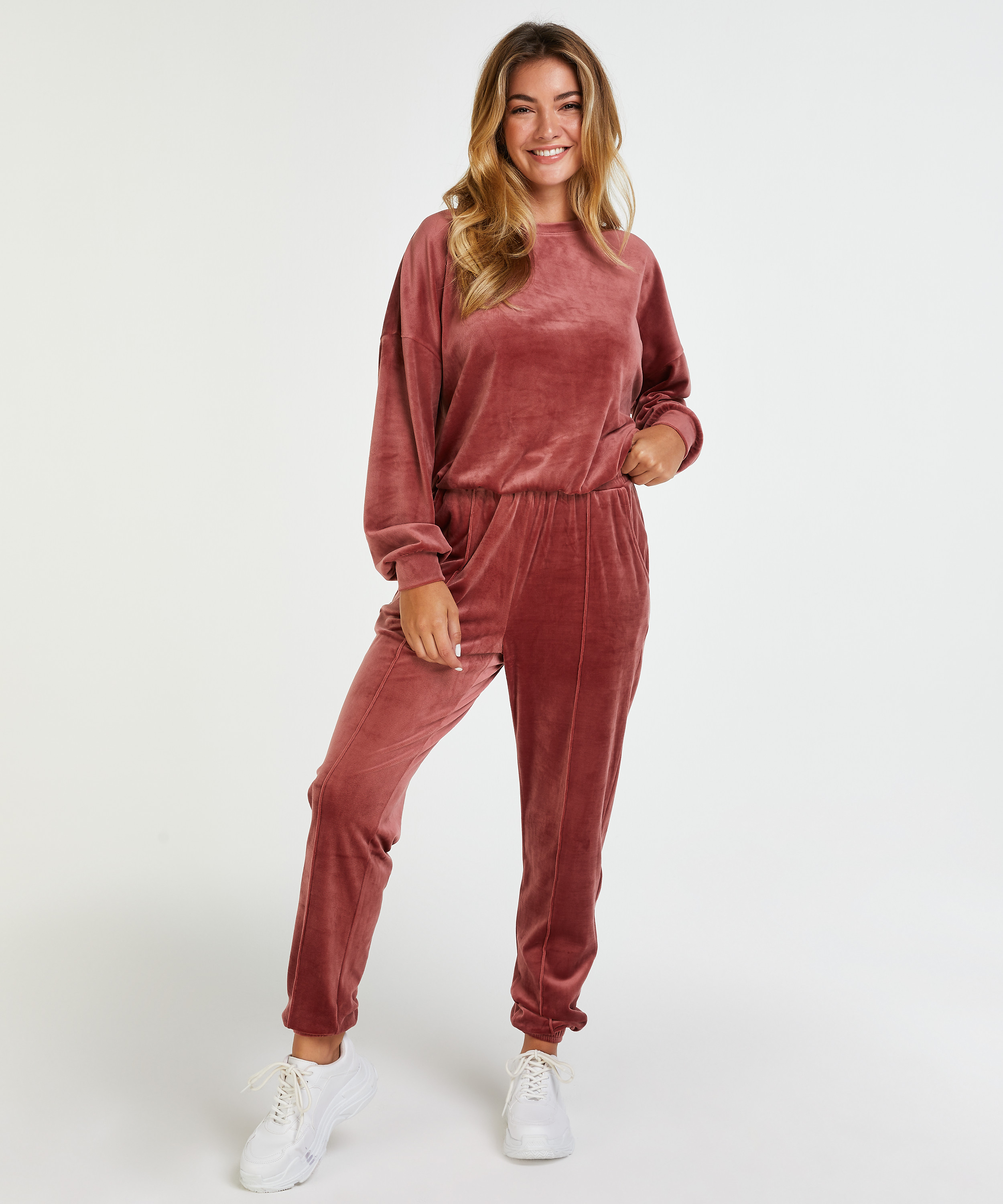 Top Velours manches longues, Rose, main