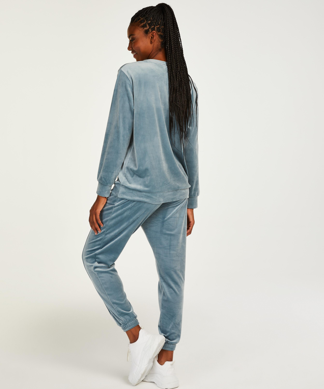 Tall Pantalon Jogging Velours Pintuck, Bleu, main