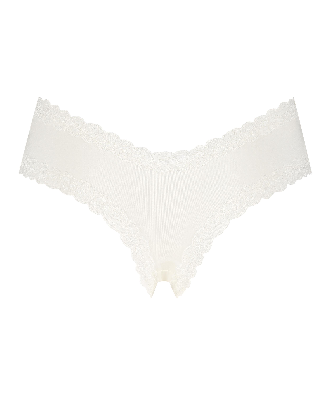 Slip brésilien V-shape Kyla, Blanc, main
