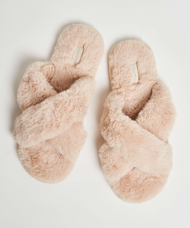 Pantoufles Fake Fur, Beige, main