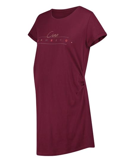 T-shirt de nuit grossesse à manches courtes, Rouge