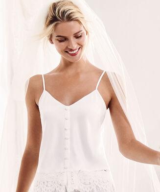 Top satin Bridal, Blanc