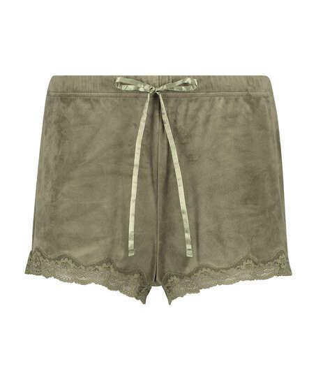 Short velours dentelle, Vert