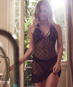 Slip dress en dentelle Ann Kathrin, Noir