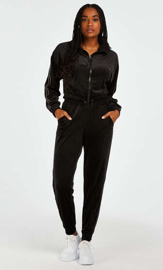 Pantalon de sport Velours HKMX, Noir