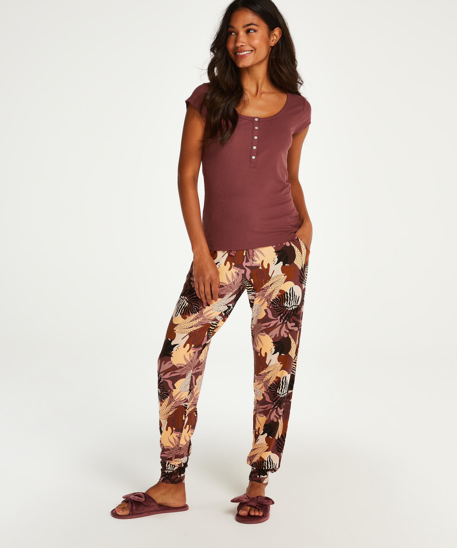 Haut de pyjama manches courtes Henley, Rose, main