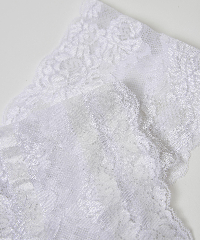 Bandes de cuisses anti-frottements en dentelle, Blanc, main