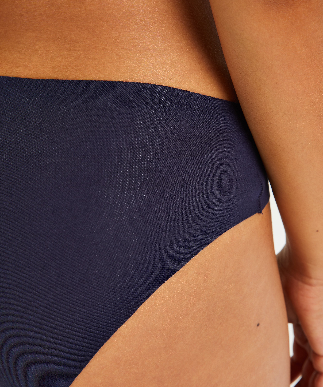 Slip invisible en coton, Bleu, main