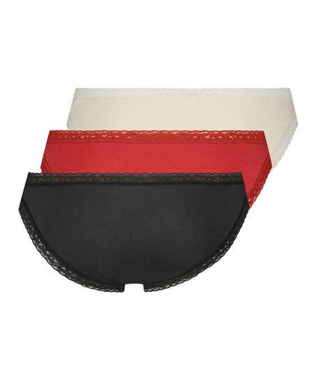 3 paires de slips, Rouge