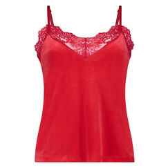 Camisole velours Dentelle, Rouge