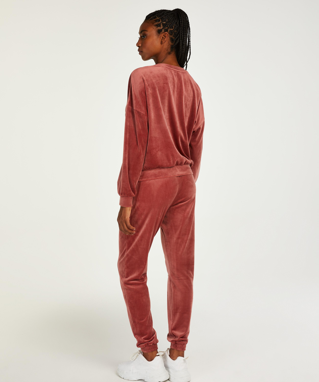 Tall Pantalon Jogging Velours Pintuck, Rose, main