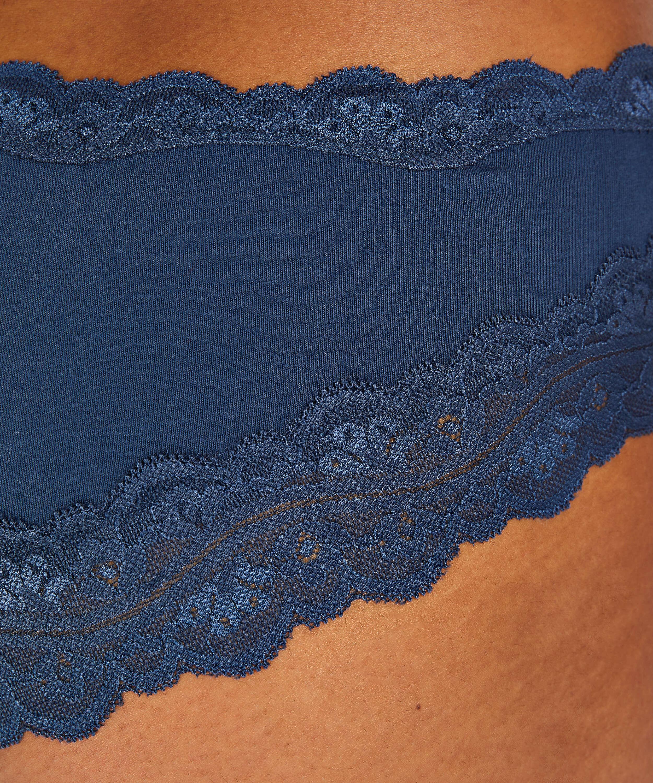 Slip brésilien coton, Bleu, main