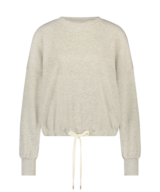 Top Manches Longues Boyfriend Brushed, Beige