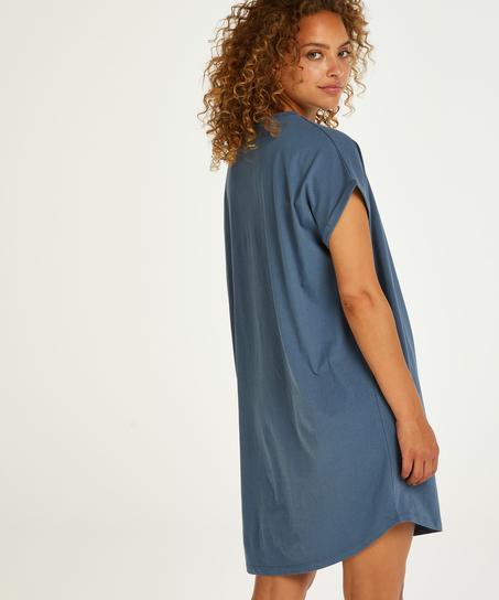 Chemise de nuit col rond, Bleu