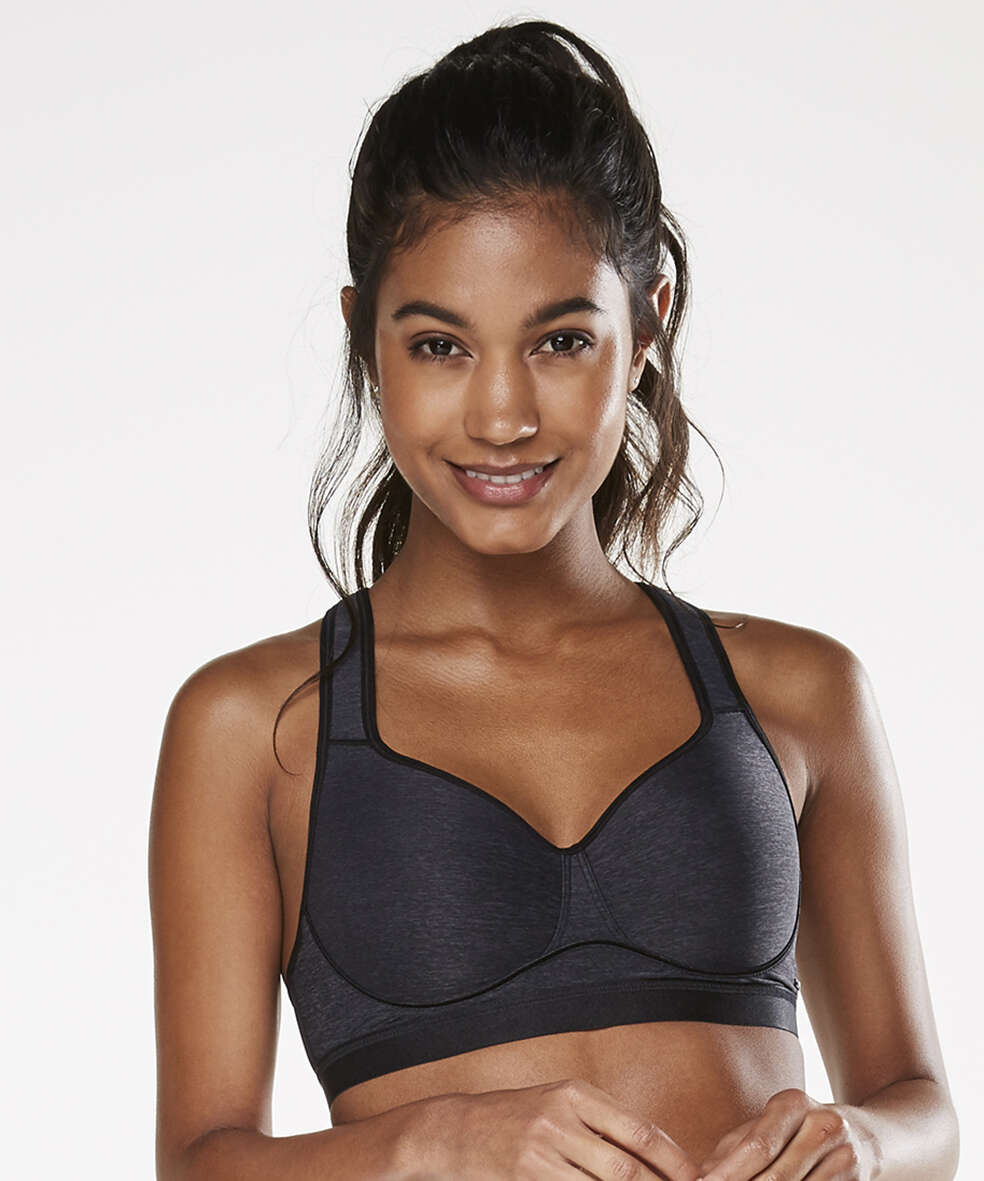 HKMX Soutien-gorge de sport The All Star Maintien niveau 2, Gris, main