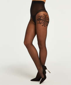 Collants 15 Denier Floral Ornament, Noir