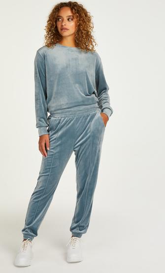Petite Pantalon Jogging Velours Pintuck, Bleu