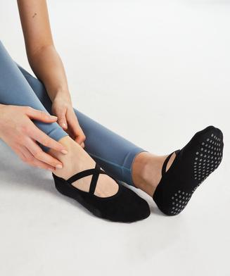 Chaussettes de yoga antidérapantes HKMX, Noir