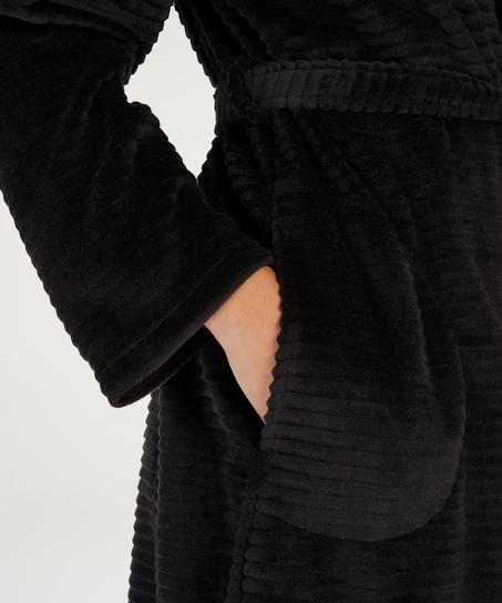 Peignoir court avec fermeture à glissière, Noir