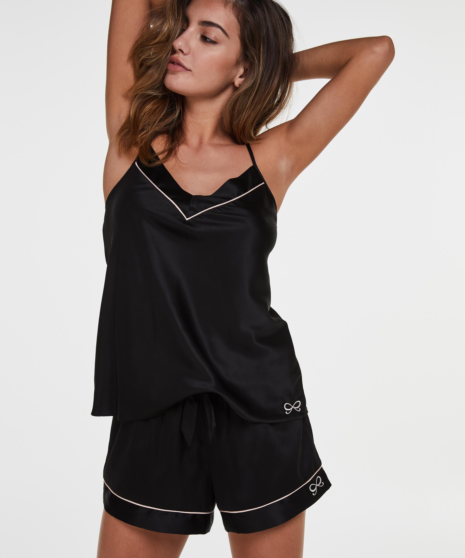 Short de pyjama satin lace, Noir, main