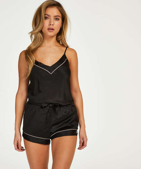 Short de pyjama satin lace, Noir